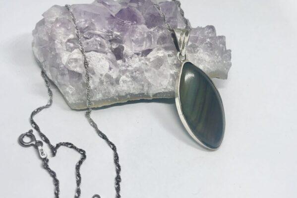 Dije De Plata Con Obsidiana Arcoiris